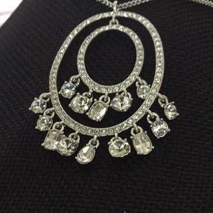 "Givenchy 16""Necklace W/3""Ext Double CrystalRngPend"